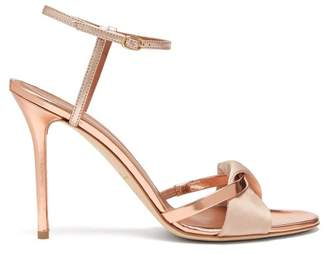 af6b905c004 Malone Souliers Terry Metallic And Mirrored Leather Sandals - Womens - Rose  Gold