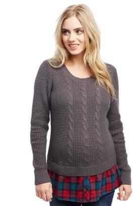 Motherhood Maternity Cable Knit Plaid Maternity Sweater