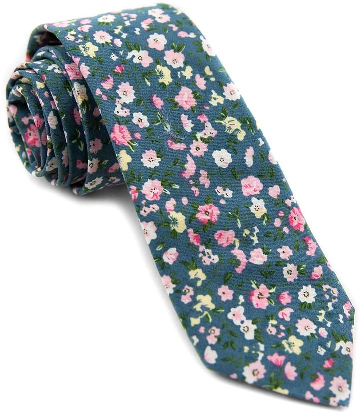 Blush & Blue Floral Necktie