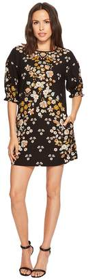 Laundry by Shelli Segal Printed Shift Dress with Blossom Short Sleeve Women's Dress