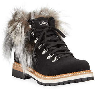 Montelliana 1965 Clara Lace-Up Boots with Fox Fur