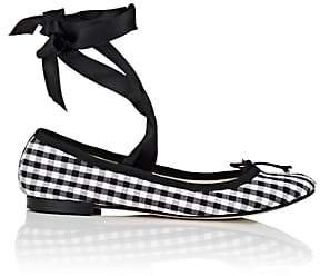 Repetto Women's Cendrillon Gingham Cotton Ballet Flats-Black