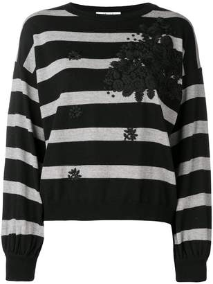 Blugirl floral embroidered striped sweater