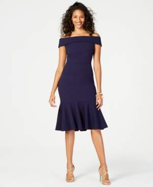 Vince Camuto Off-The-Shoulder Flounced Crepe Dress
