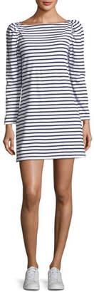 A.L.C. Stevens Boat-Neck Long-Sleeve Striped A-Line Dress