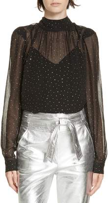 Veronica Beard Melling Sheer Rhinestone Blouse