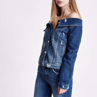 River Island Womens Mid blue ripped denim jacket