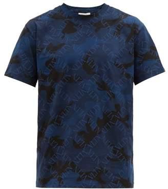 Valentino Vltn Camouflage Print Cotton T Shirt - Mens - Blue