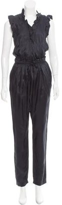 Sandro Ruffle-Trimmed V-Neck Jumpsuit $90 thestylecure.com