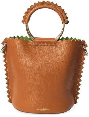 Sara Battaglia Helen Leather Zigzag-Edge Ring-Handle Bucket Bag