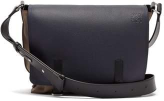 Loewe Military Leather Messenger Bag - Mens - Navy/dk Olive