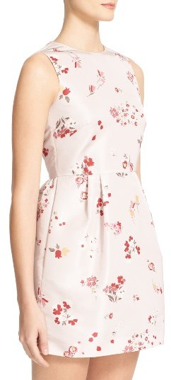 Women's Red Valentino Flower Bouquet Print Faille Dress 4