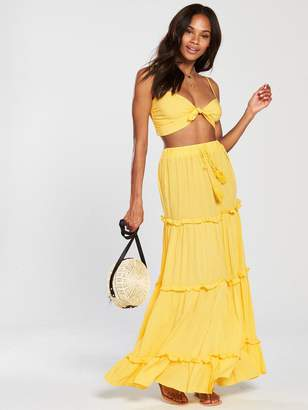 Very Co-ord Beach Top And Tiered Maxi Skirt Set - Yellow