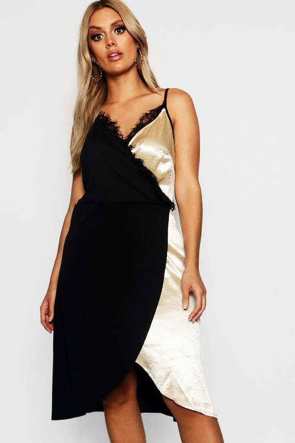 Plus Satin Lace Trim Wrap Midi Dress
