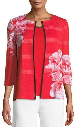 Misook Placed Floral 3/4-Sleeve Jacket