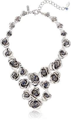 Badgley Mischka 3D Flower Bib Chain Necklace