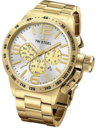 TW Steel Canteen Men's Quartz Watch with Silver Dial Chronograph Display and Gold Stainless Steel Gold Plated Bracelet CB84