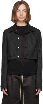Rick Owens Black Waxed Denim Little Joe jacket