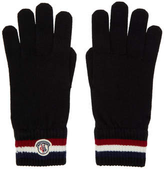 Moncler Black Wool Corporate Gloves