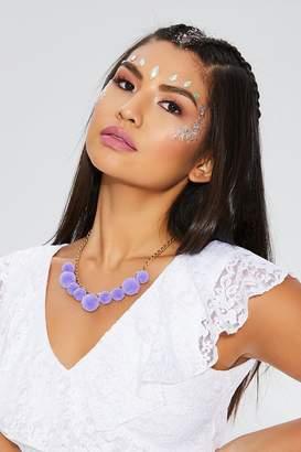 Quiz Lilac Short Pom Necklace