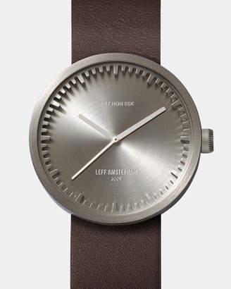 Tube Watch D38 Steel with Brown Leather Strap