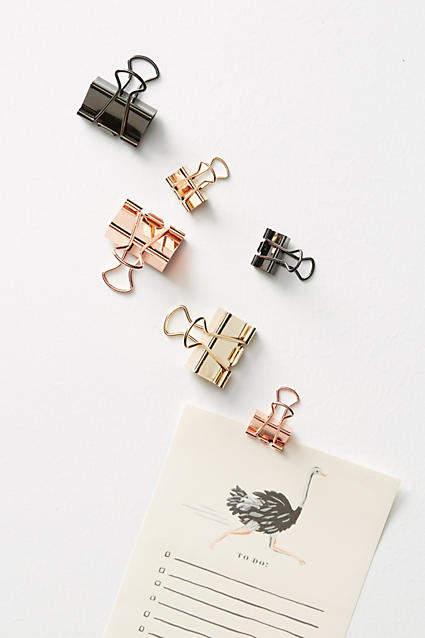 Metallic Binder Clip Set