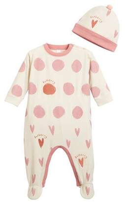 Burberry Hearts & Dots Footie Pajamas w/ Matching Hat, Size 3-9 Months