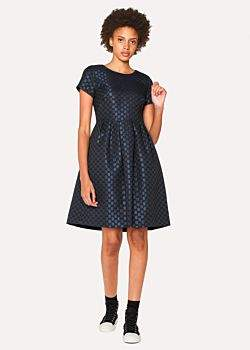 Women's Navy Polka Dot Jacquard Shift Dress