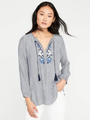 Embroidered Tassel-Tie Tunic for Women $29.99 thestylecure.com