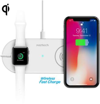 White Naztech Power Pad Duo Qi Wireless Fast Charger