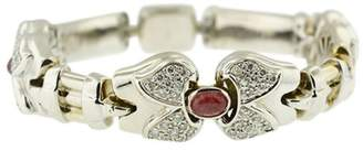 18K Yellow Gold White Gold Plated With Diamonds Ruby Center Stone Bracelet