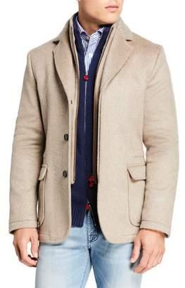 Kiton Men's Three-Button Jacket w/ Zip-Front Bib