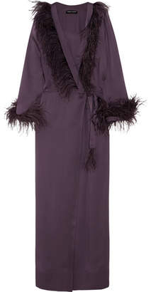 Carine Gilson Feather-trimmed Silk-satin Robe - Grape