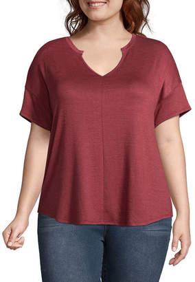 A.N.A Short Sleeve Notch Neck T-Shirt - Plus