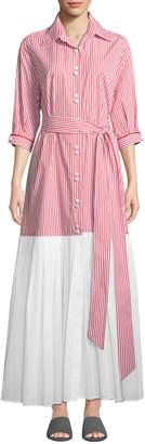 Evi Grintela Carmen 3/4-Sleeve Striped Shirtdress