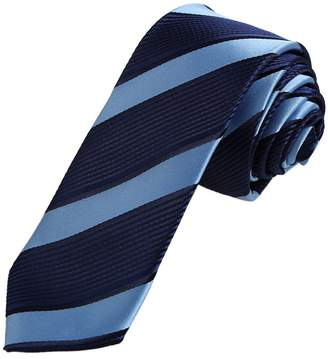 IDEA DAE7A22J Olive Green Navy Stripes Microfiber Skinny Tie Husband Narrow Tie By Dan Smith