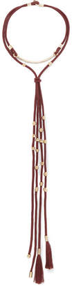 Chloé Otis Cord And Gold-tone Necklace - Burgundy