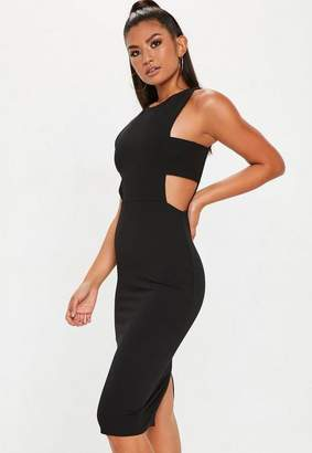 Missguided Black Sleeveless Cut Out Side Midi Dress