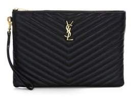 Saint Laurent Monogram Smooth Matelasse Leather Tablet Pouch