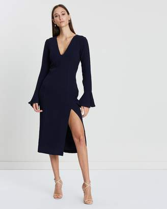 Shona Joy Plunge Frill Cuff Fitted Midi Dress