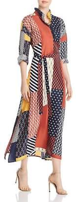 Tory Burch Bianca Patchwork Print Silk Maxi Dress