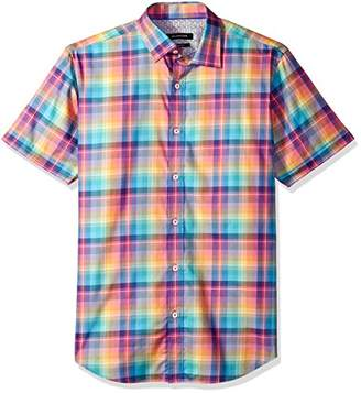 Bugatchi Men's Fitted Short Sleeve Bright Checks Cotton Shirt