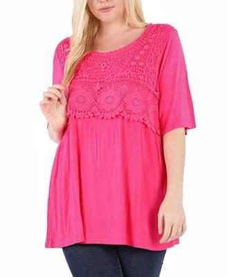 Asstd National Brand Plus Floral Crochet Upper Tunic