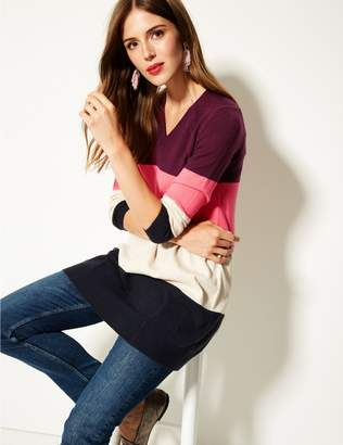 Marks and Spencer Colour Block V-Neck Tunic Jumper