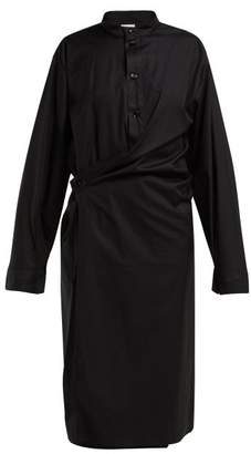 Lemaire Stand Collar Cotton Wrap Dress - Womens - Black