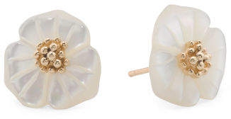 Made In Thailand 14k Gold Mother Of Pearl Flower Earrings