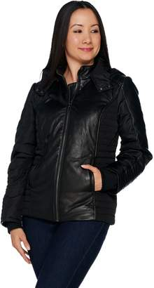 Halston H By H by Lamb Leather Motorcycle Puffer Jacket