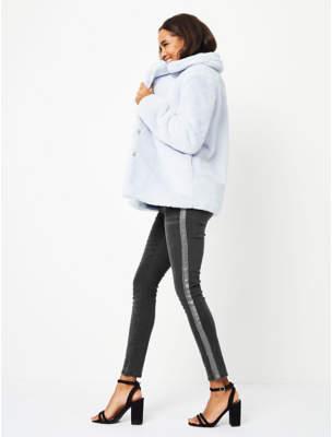 Grey Metallic Stripe Skinny Jeans