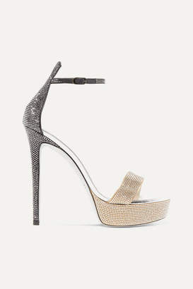 Rene Caovilla Celebrita Crystal-embellished Leather Platform Sandals - Bronze