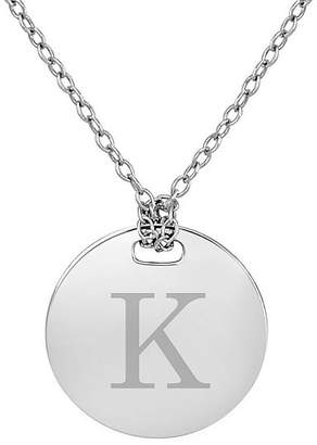 FINE JEWELRY Personalized Sterling Silver 16mm Round Initial Pendant Necklace